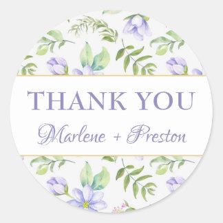 Dreamy Purple Garden Spring Wedding Favor Classic Round Sticker