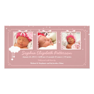 Dreamy Stars Three Photo Baby Birth Announcement Picture Card