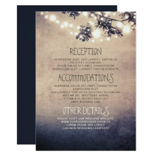 Dreamy String Lights Branches Wedding Details Card