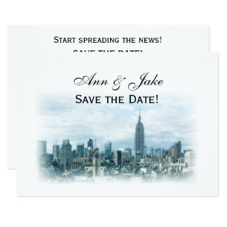 Dreamy Teal NYC Skyline Save the Date H Card