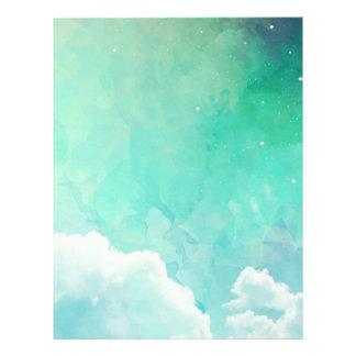 Dreamy twilight green cloudy sky background letterhead