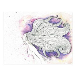Dreamy watercolour and ink girl, postcard