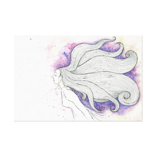 Dreamy watercolour and ink illustration canvas print