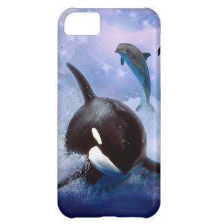 Dreamy whale and dolphins iPhone 5C cover