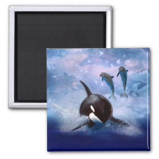 Dreamy whale and dolphins magnet