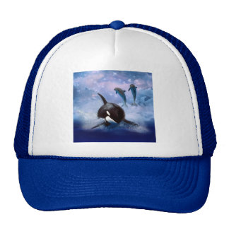 Dreamy Whale and dolphins play Trucker Hat