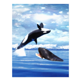 Dreamy whales in fun and play letterhead design