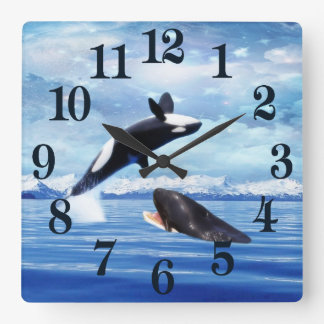 Dreamy whales in fun and play square wall clock
