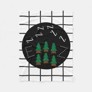 Dreamy ZZZs Monogram Trendy Plaid Trees Blanket1 Fleece Blanket