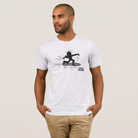 DreamySupply Pop Art SkateBoard Man Ash Grey T-Shirt