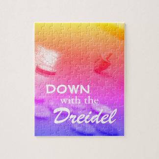 Dreidel Colorful Gradient with Funny Hanukkah Text Jigsaw Puzzle