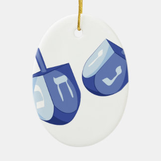 Dreidels Ceramic Oval Ornament