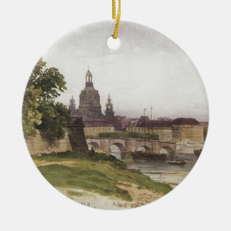 Dresden. Bridge of August by Ivan Shishkin Round Ceramic Ornament