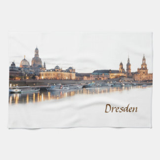 Dresden Elbe Night view Kitchen Towel