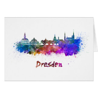 Dresden skyline in watercolor card