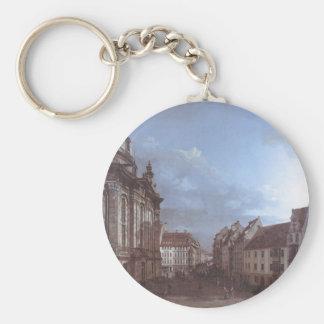 Dresden, the Frauenkirche and the Rampische Gasse Basic Round Button Keychain