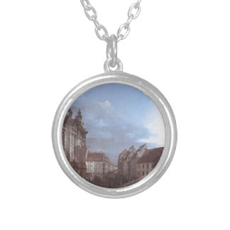 Dresden, the Frauenkirche and the Rampische Gasse Round Pendant Necklace