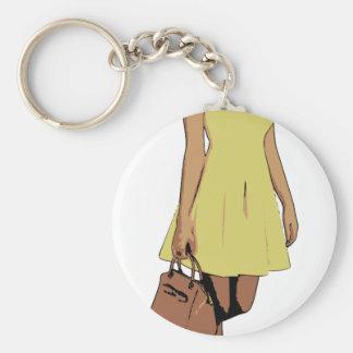 dress basic round button keychain