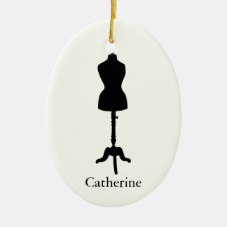 Dress Form Silhouette II - Personalize It Ceramic Ornament
