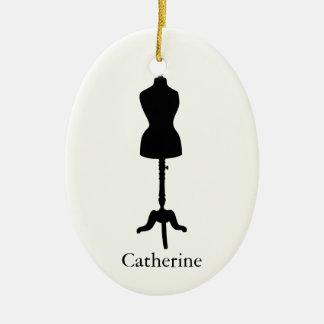Dress Form Silhouette II - Personalize It Ceramic Oval Ornament