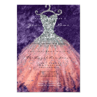 Dress Glitter Bridal 16th Watercolor Coral Silver Card