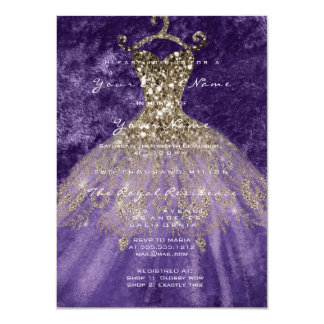 Dress Glitter Bridal 16th Watercolor Gold Violet Card
