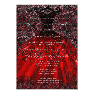 Dress Glitter Gothic Bridal Velvet Damask Red Blac Card