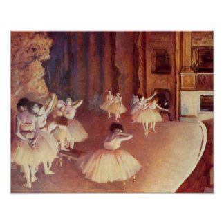 Dress rehearsal of the ballet on the stage - Degas Poster