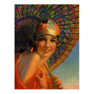 Dress tangerine Flapper Girl & Parasol Postcard
