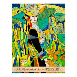 Dress Up Ping Hao oriental abstract painting art Postcard