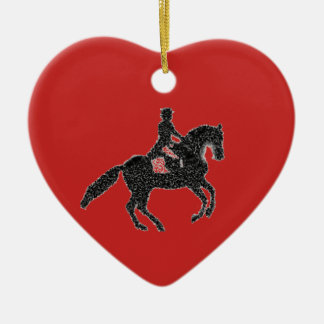 Dressage Heart Red - Horse and Rider Mosaic Design Ceramic Ornament