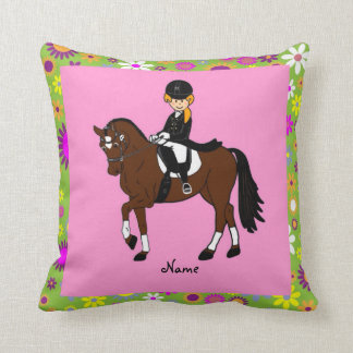 Dressage Horse and Rider caricature personalized Throw Pillow