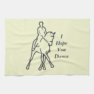 Dressage Horse and Rider - Line Art Half Pass Kitchen Towel