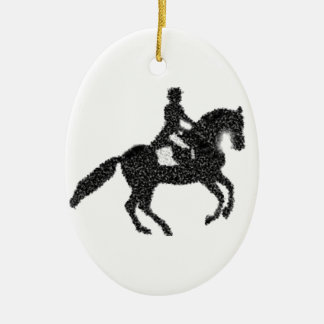 Dressage Horse and Rider Mosaic Design Ceramic Ornament