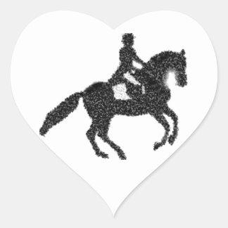 Dressage Horse and Rider Mosaic Design Heart Sticker
