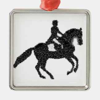 Dressage Horse and Rider Mosaic Design Metal Ornament