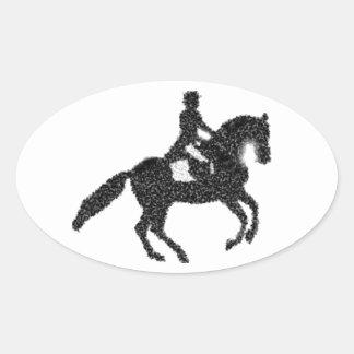 Dressage Horse and Rider Mosaic Design Oval Sticker