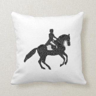 Dressage Horse and Rider Mosaic Design Pillow