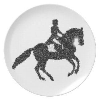 Dressage Horse and Rider Mosaic Design Plate