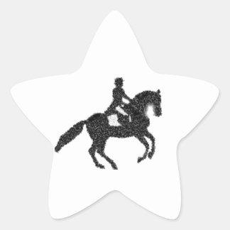 Dressage Horse and Rider Mosaic Design Star Sticker