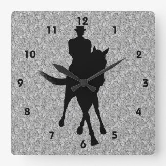 Dressage Horse And Rider Silhouette Wall Clocks