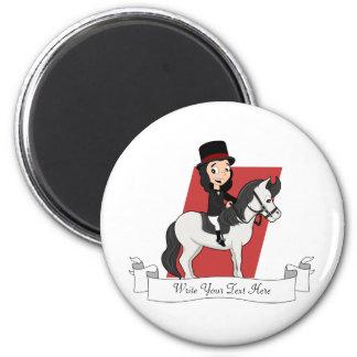 Dressage horse rider cartoon magnet
