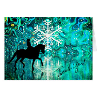 Dressage Horse, Rider Winter Snowflake Thank You Card