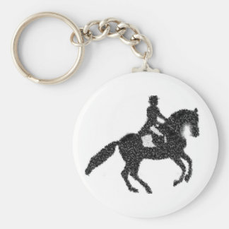 Dressage Key Chain-  Mosaic Horse and Rider Keychain