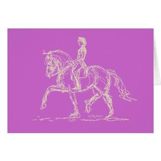 Dressage Passage Card White on Lavender