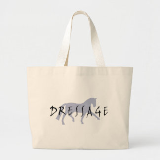 Dressage Trot w/ Text (blue) Large Tote Bag