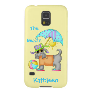 Dressed Beach or Pool Dog Yellow Name Personalized Galaxy S5 Cases