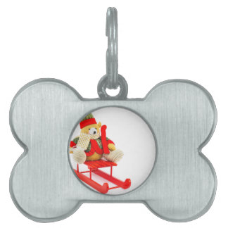 Dressed Christmas bear on red wooden sleigh Pet ID Tag