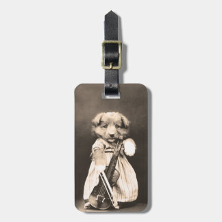 Dressed Up Puppy with Violin Luggage Tag