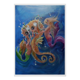 Dressed up Sea Horses Poster